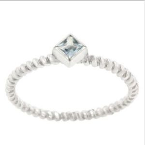 Sterling Silver Cable Ring Blue Topaz Size 9 10